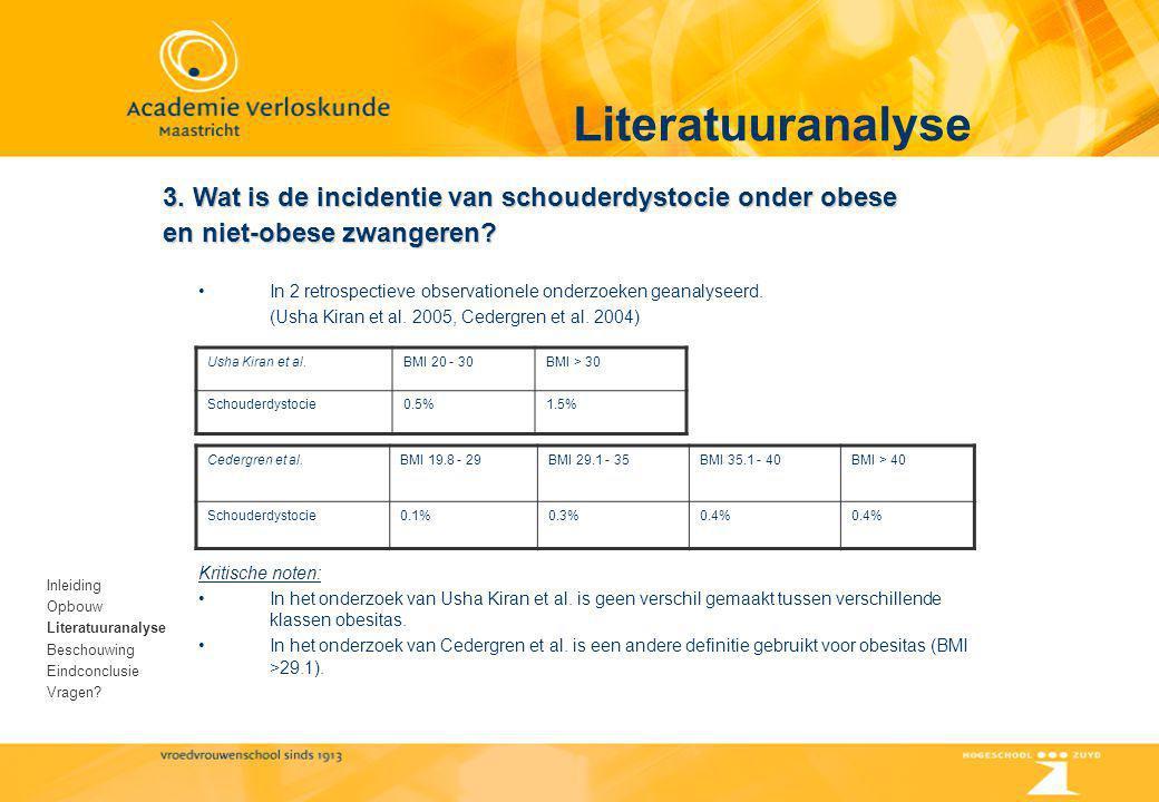 Literatuuranalyse Inleiding Opbouw Literatuuranalyse Beschouwing Eindconclusie Vragen? 3. Wat is de incidentie van schouderdystocie onder obese en nie