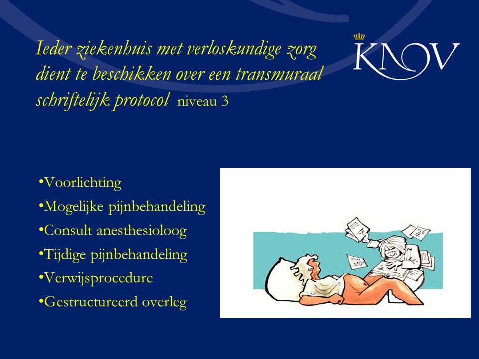 Ieder ziekenhuis met verloskundige zorg dient te beschikken over een transmuraal schriftelijk protocol niveau 3 Voorlichting Mogelijke pijnbehandeling