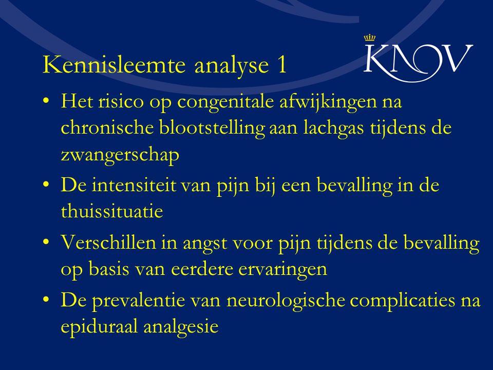Kennisleemte analyse 1 Het risico op congenitale afwijkingen na chronische blootstelling aan lachgas tijdens de zwangerschap De intensiteit van pijn b