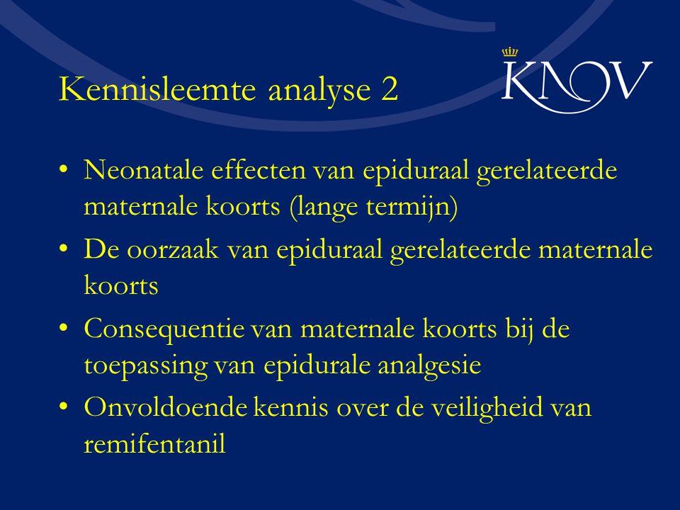 Kennisleemte analyse 2 Neonatale effecten van epiduraal gerelateerde maternale koorts (lange termijn) De oorzaak van epiduraal gerelateerde maternale