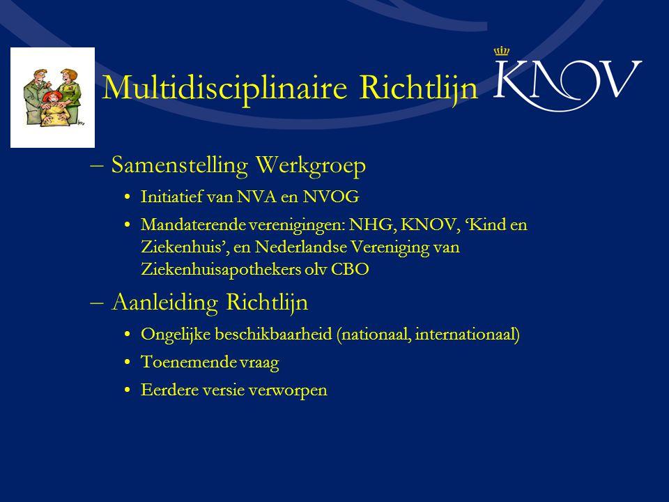 – Samenstelling Werkgroep Initiatief van NVA en NVOG Mandaterende verenigingen: NHG, KNOV, 'Kind en Ziekenhuis', en Nederlandse Vereniging van Ziekenh