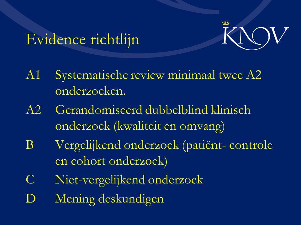 Evidence richtlijn A1Systematische review minimaal twee A2 onderzoeken. A2Gerandomiseerd dubbelblind klinisch onderzoek (kwaliteit en omvang) BVergeli