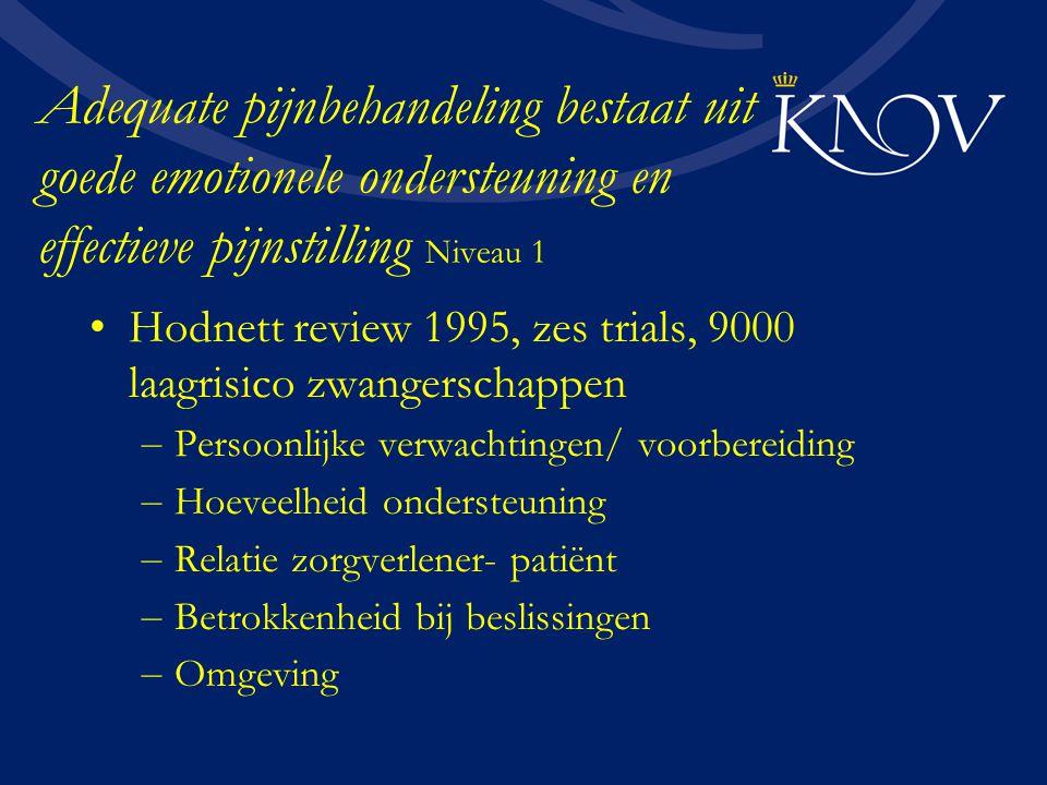 Adequate pijnbehandeling bestaat uit goede emotionele ondersteuning en effectieve pijnstilling Niveau 1 Hodnett review 1995, zes trials, 9000 laagrisi