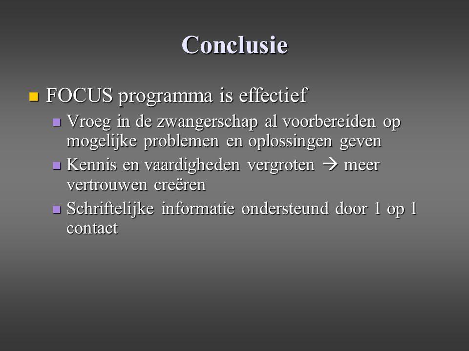 Conclusie FOCUS programma is effectief FOCUS programma is effectief Vroeg in de zwangerschap al voorbereiden op mogelijke problemen en oplossingen gev