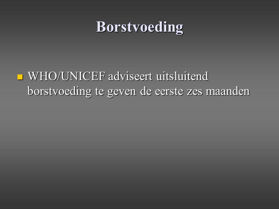 Borstvoeding WHO/UNICEF adviseert uitsluitend borstvoeding te geven de eerste zes maanden WHO/UNICEF adviseert uitsluitend borstvoeding te geven de ee