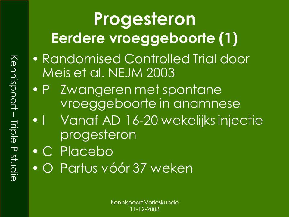 Kennispoort – Triple P studie Kennispoort Verloskunde 11-12-2008 Progesteron Eerdere vroeggeboorte (1) Randomised Controlled Trial door Meis et al.