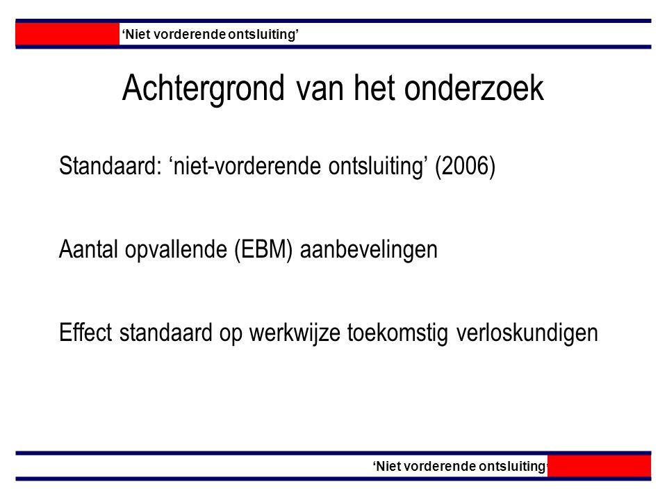 Achtergrond van het onderzoek Standaard: 'niet-vorderende ontsluiting' (2006) 'Niet vorderende ontsluiting' Aantal opvallende (EBM) aanbevelingen Effect standaard op werkwijze toekomstig verloskundigen