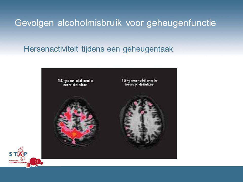 Gevolgen alcoholmisbruik voor geheugenfunctie Hersenactiviteit tijdens een geheugentaak