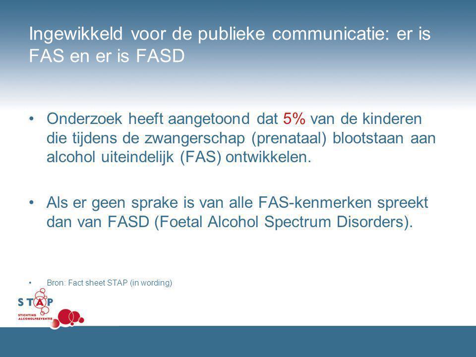 Ingewikkeld voor de publieke communicatie: er is FAS en er is FASD Onderzoek heeft aangetoond dat 5% van de kinderen die tijdens de zwangerschap (pren
