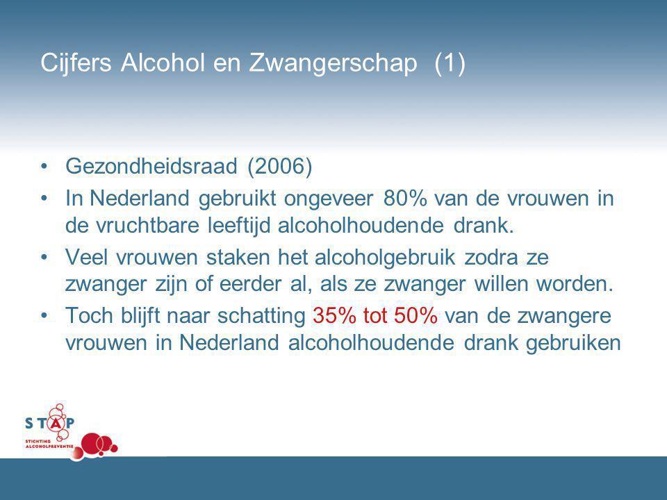 Cijfers Alcohol en Zwangerschap (1) Gezondheidsraad (2006) In Nederland gebruikt ongeveer 80% van de vrouwen in de vruchtbare leeftijd alcoholhoudende