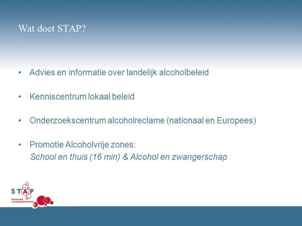 Wat doet STAP? Advies en informatie over landelijk alcoholbeleid Kenniscentrum lokaal beleid Onderzoekscentrum alcoholreclame (nationaal en Europees)