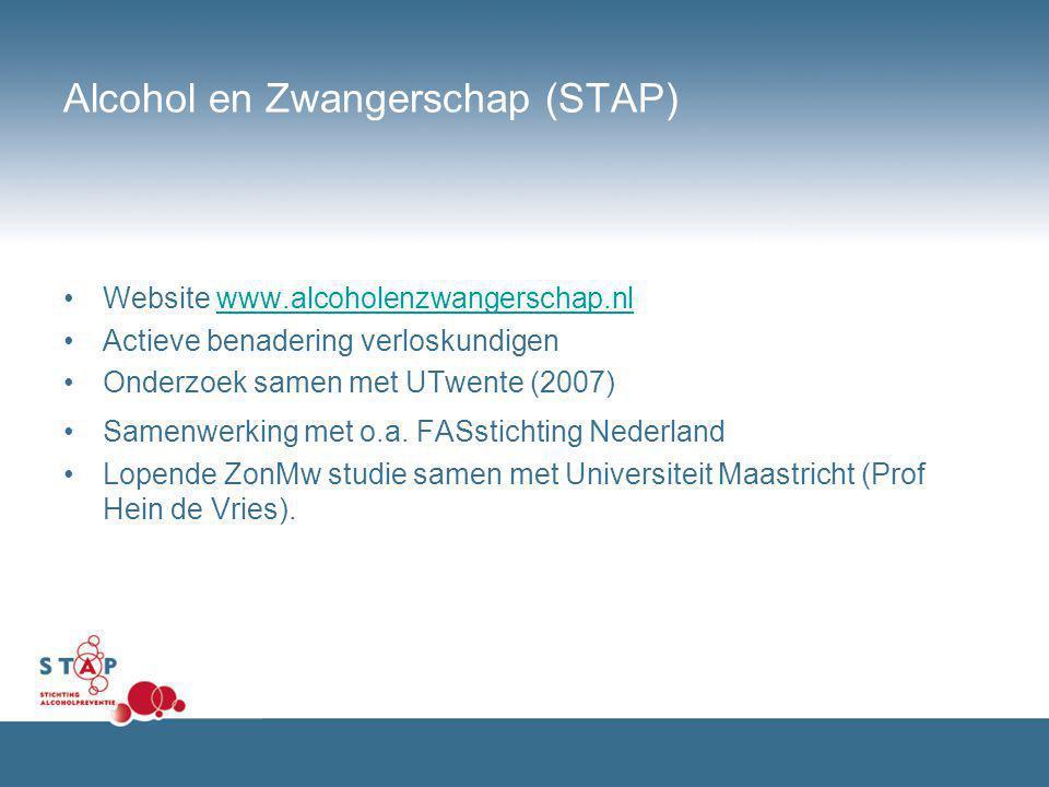 Alcohol en Zwangerschap (STAP) Website www.alcoholenzwangerschap.nlwww.alcoholenzwangerschap.nl Actieve benadering verloskundigen Onderzoek samen met