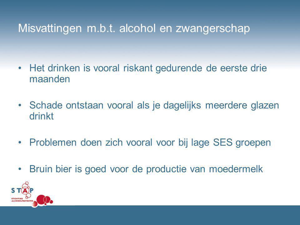 Misvattingen m.b.t. alcohol en zwangerschap Het drinken is vooral riskant gedurende de eerste drie maanden Schade ontstaan vooral als je dagelijks mee