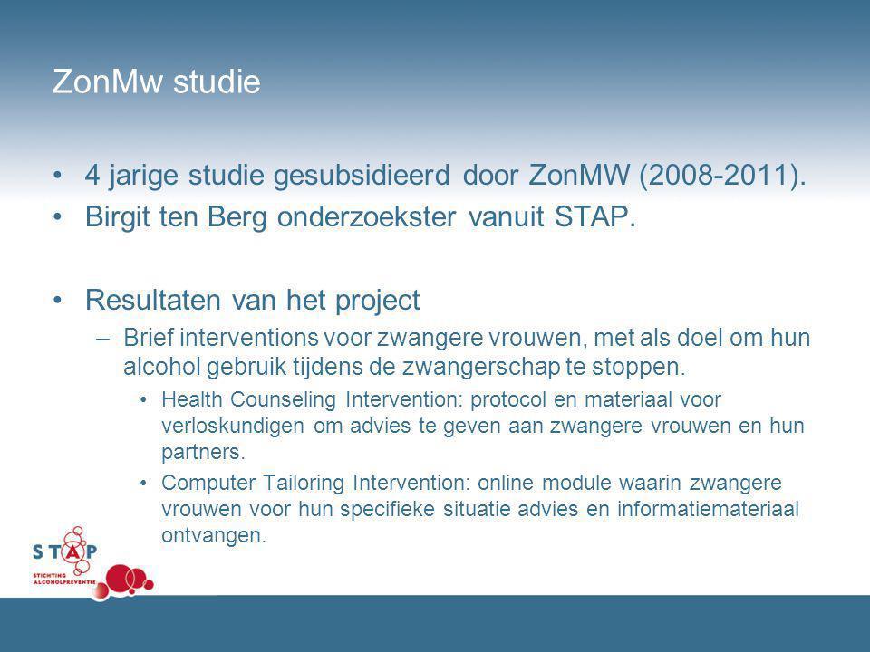 ZonMw studie 4 jarige studie gesubsidieerd door ZonMW (2008-2011). Birgit ten Berg onderzoekster vanuit STAP. Resultaten van het project –Brief interv