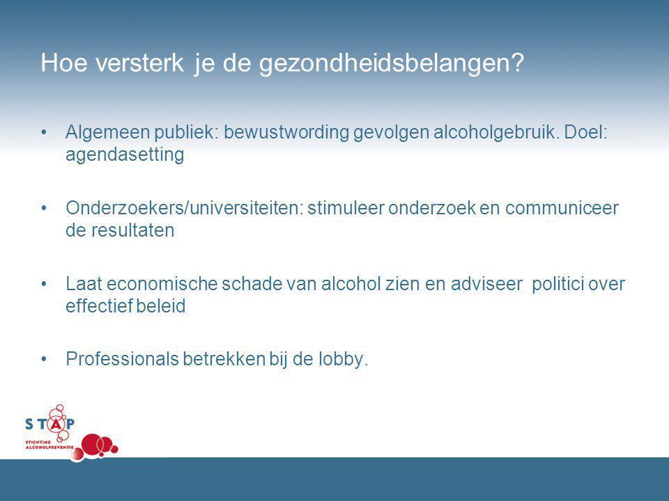 Hoe versterk je de gezondheidsbelangen? Algemeen publiek: bewustwording gevolgen alcoholgebruik. Doel: agendasetting Onderzoekers/universiteiten: stim