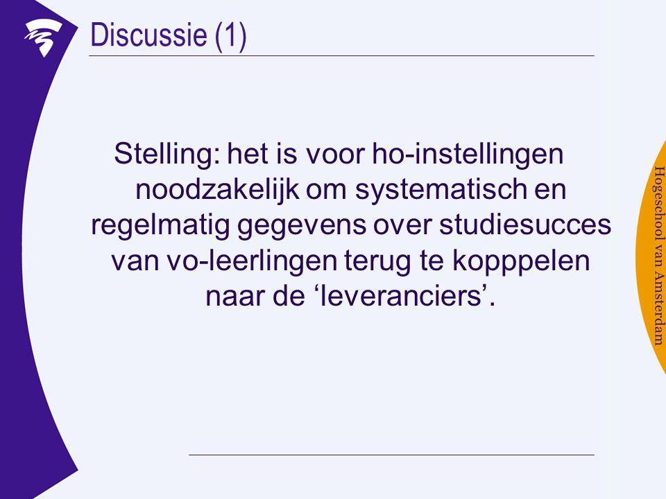 Discussie (1) Stelling: het is voor ho-instellingen noodzakelijk om systematisch en regelmatig gegevens over studiesucces van vo-leerlingen terug te kopppelen naar de 'leveranciers'.