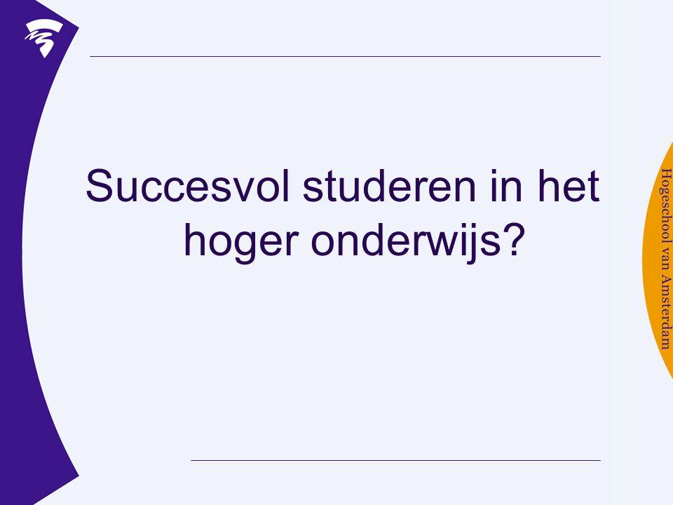 Succesvol studeren in het hoger onderwijs