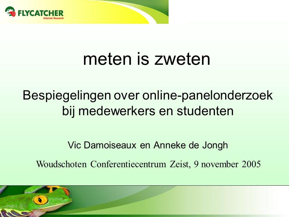 meten is zweten Bespiegelingen over online-panelonderzoek bij medewerkers en studenten Vic Damoiseaux en Anneke de Jongh Woudschoten Conferentiecentrum Zeist, 9 november 2005