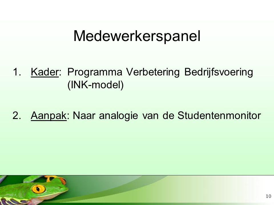 10 Medewerkerspanel 1.Kader: Programma Verbetering Bedrijfsvoering (INK-model) 2.Aanpak: Naar analogie van de Studentenmonitor
