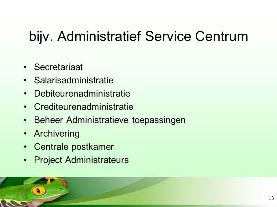 13 bijv. Administratief Service Centrum Secretariaat Salarisadministratie Debiteurenadministratie Crediteurenadministratie Beheer Administratieve toep
