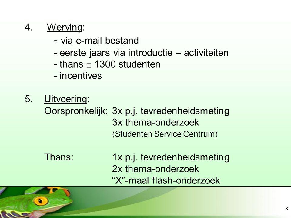8 4. Werving: - via e-mail bestand - eerste jaars via introductie – activiteiten - thans ± 1300 studenten - incentives 5.Uitvoering: Oorspronkelijk: 3