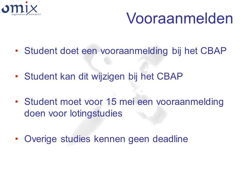 Vooraanmelden Student doet een vooraanmelding bij het CBAP Student kan dit wijzigen bij het CBAP Student moet voor 15 mei een vooraanmelding doen voor lotingstudies Overige studies kennen geen deadline