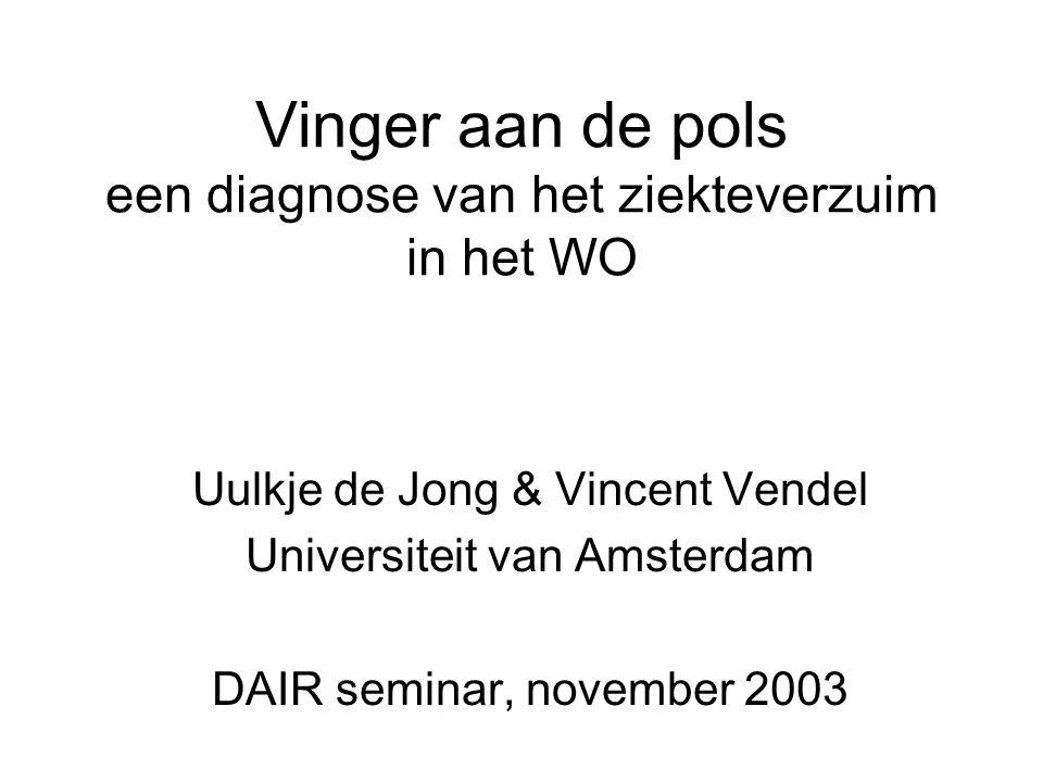 Vinger aan de pols een diagnose van het ziekteverzuim in het WO Uulkje de Jong & Vincent Vendel Universiteit van Amsterdam DAIR seminar, november 2003