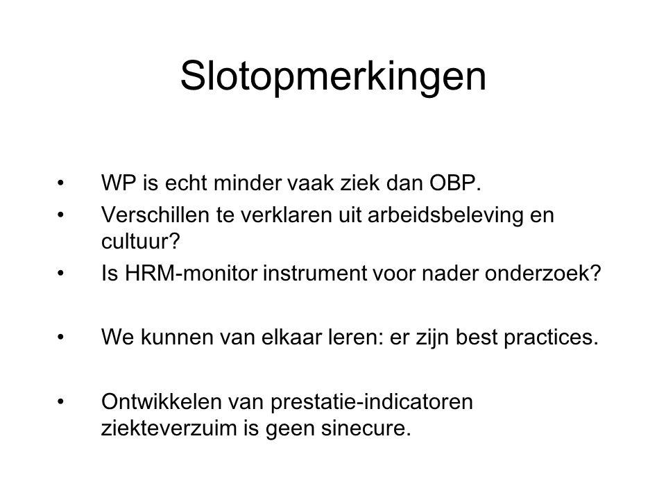 Slotopmerkingen WP is echt minder vaak ziek dan OBP.