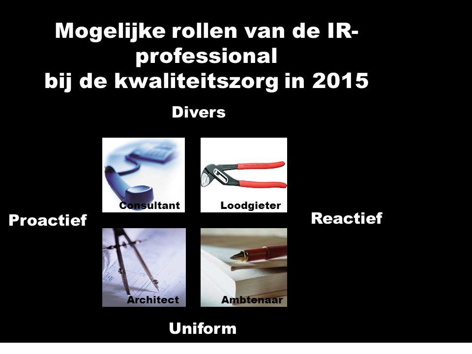 Reactief Proactief Uniform Divers ArchitectAmbtenaar LoodgieterConsultant Mogelijke rollen van de IR- professional bij de kwaliteitszorg in 2015 LoodgieterConsultant