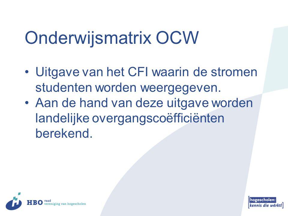 Onderwijsmatrix OCW Uitgave van het CFI waarin de stromen studenten worden weergegeven. Aan de hand van deze uitgave worden landelijke overgangscoëffi