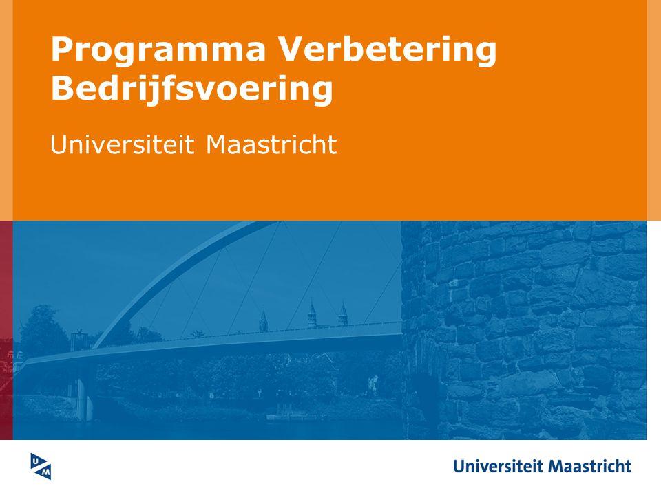 Universiteit Maastricht Verantwoordelijk Portefeuillehouder CvB = opdrachtgever Programmaleider = directeur bedrijfsvoering bureau Coördinatie: directeuren eenheden + portefeuillehouder gezamenlijk (CBB) Uitvoering: directeuren Ondersteuning: programmabureau + INK- coördinatoren