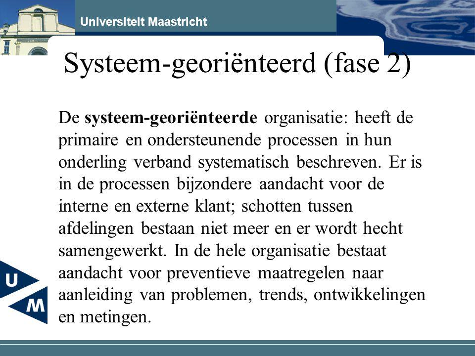 Universiteit Maastricht Systeem-georiënteerd (fase 2) De systeem-georiënteerde organisatie: heeft de primaire en ondersteunende processen in hun onder