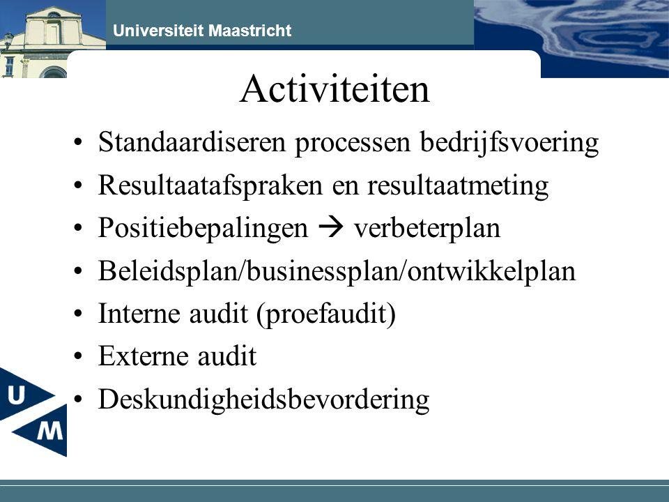 Universiteit Maastricht Activiteiten Standaardiseren processen bedrijfsvoering Resultaatafspraken en resultaatmeting Positiebepalingen  verbeterplan