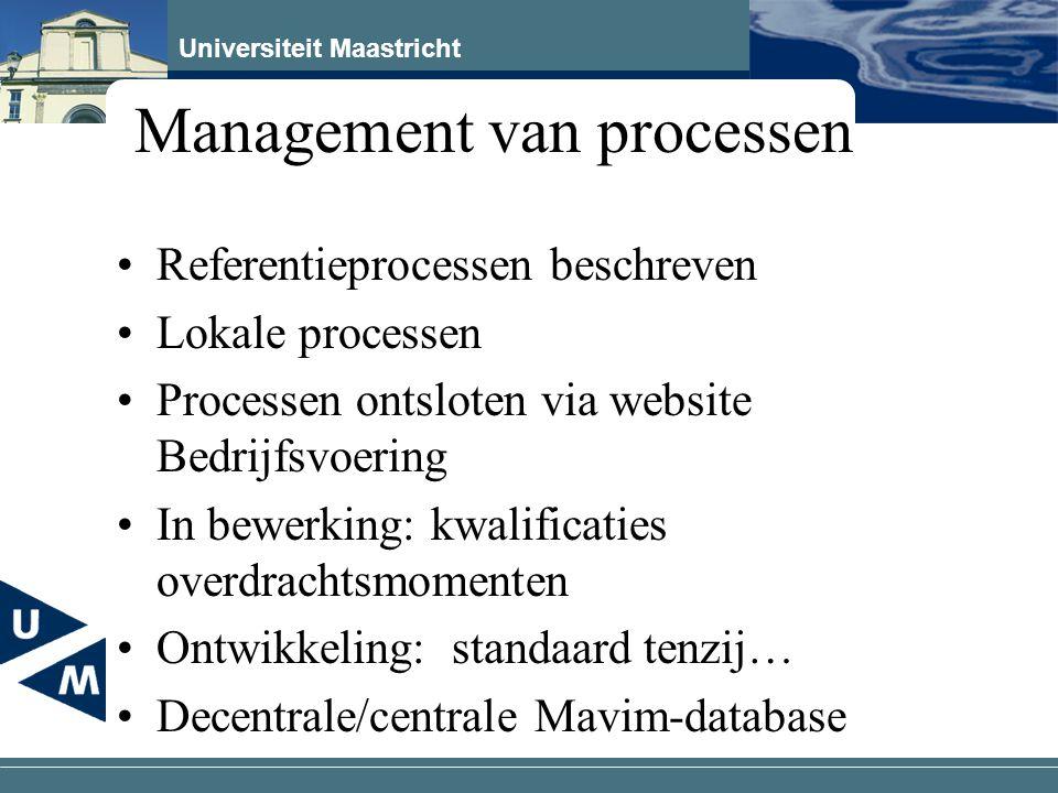 Universiteit Maastricht Management van processen Referentieprocessen beschreven Lokale processen Processen ontsloten via website Bedrijfsvoering In be