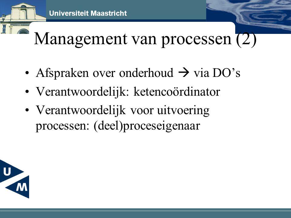Universiteit Maastricht Management van processen (2) Afspraken over onderhoud  via DO's Verantwoordelijk: ketencoördinator Verantwoordelijk voor uitv