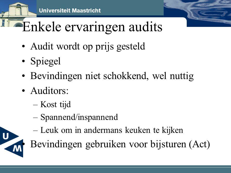 Universiteit Maastricht Enkele ervaringen audits Audit wordt op prijs gesteld Spiegel Bevindingen niet schokkend, wel nuttig Auditors: –Kost tijd –Spa