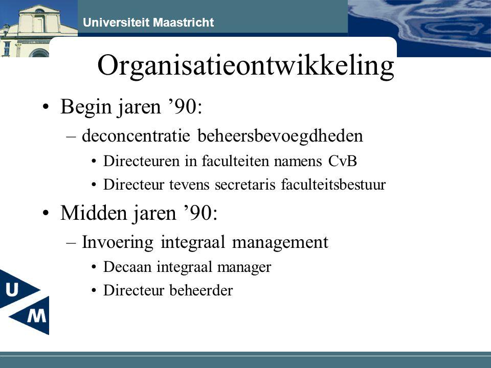 Universiteit Maastricht Organisatieontwikkeling Eind jaren '90 –Modernisering dienstverlening (modi) Doel: kosten ondersteuning constant, bij 25 % groei UM Vorming 5 servicecentra Koopkrachtoverheveling Start dienstverleningsovereenkomsten –Basispakket –Pluspakket –Vrije diensten –CvB-diensten