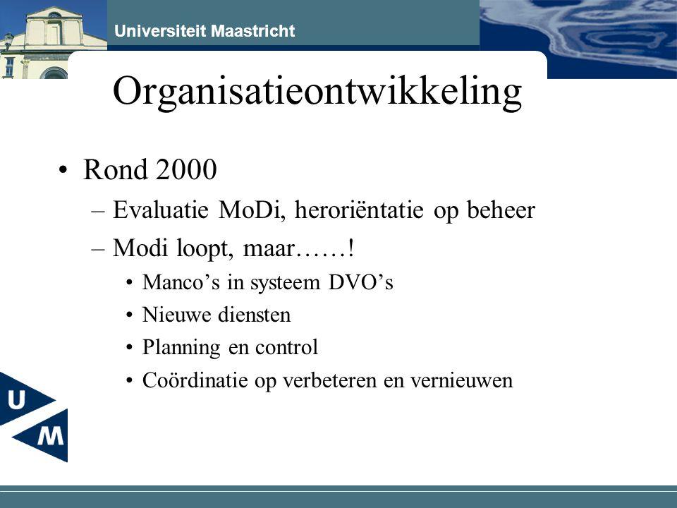Universiteit Maastricht Organisatieontwikkeling Rond 2000 –Evaluatie MoDi, heroriëntatie op beheer –Modi loopt, maar……! Manco's in systeem DVO's Nieuw