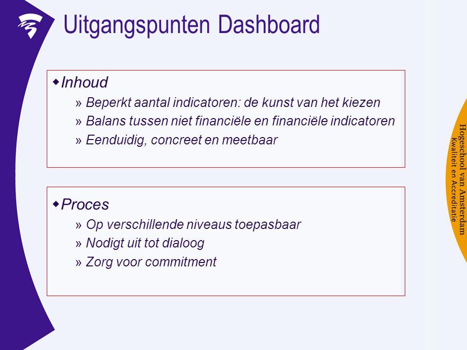 Uitgangspunten Dashboard  Inhoud » Beperkt aantal indicatoren: de kunst van het kiezen » Balans tussen niet financiële en financiële indicatoren » Ee