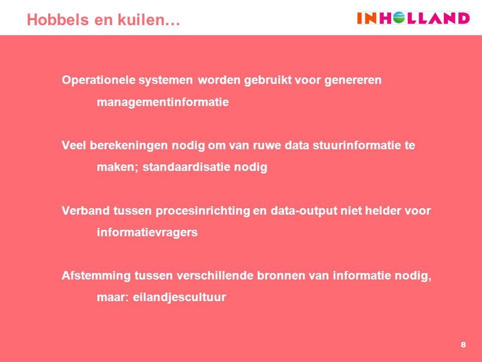 8 Hobbels en kuilen… Operationele systemen worden gebruikt voor genereren managementinformatie Veel berekeningen nodig om van ruwe data stuurinformati