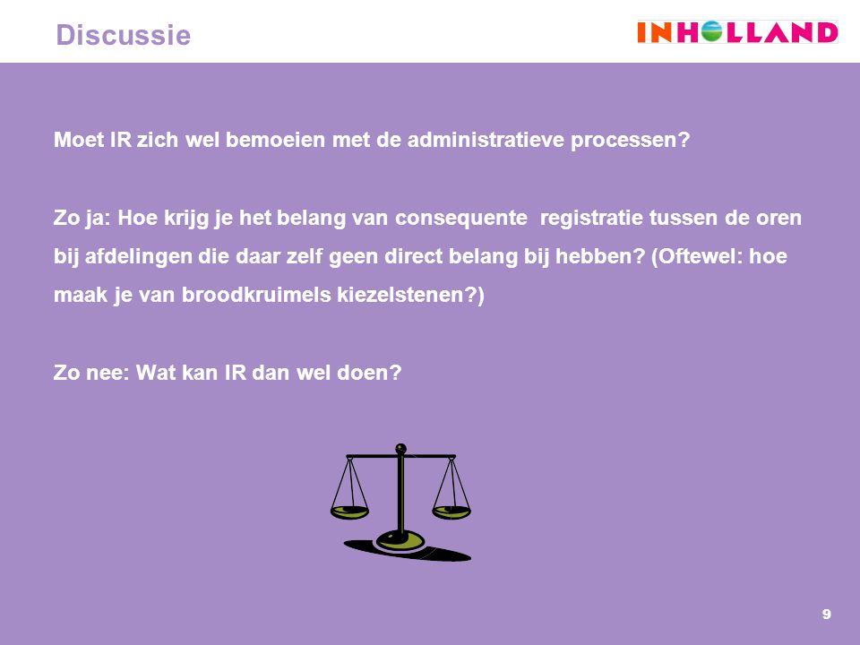 9 Discussie Moet IR zich wel bemoeien met de administratieve processen? Zo ja: Hoe krijg je het belang van consequente registratie tussen de oren bij