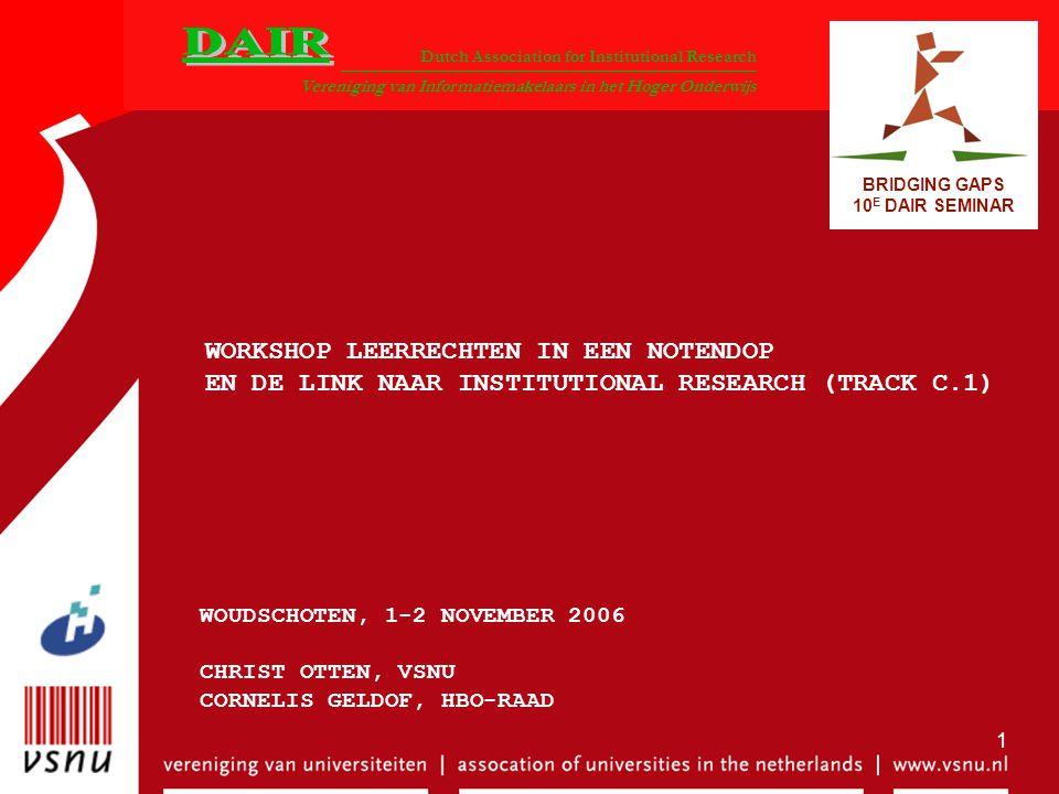 Dutch Association for Institutional Research Vereniging van Informatiemakelaars in het Hoger Onderwijs BRIDGING GAPS 10 E DAIR SEMINAR 1 WORKSHOP LEER