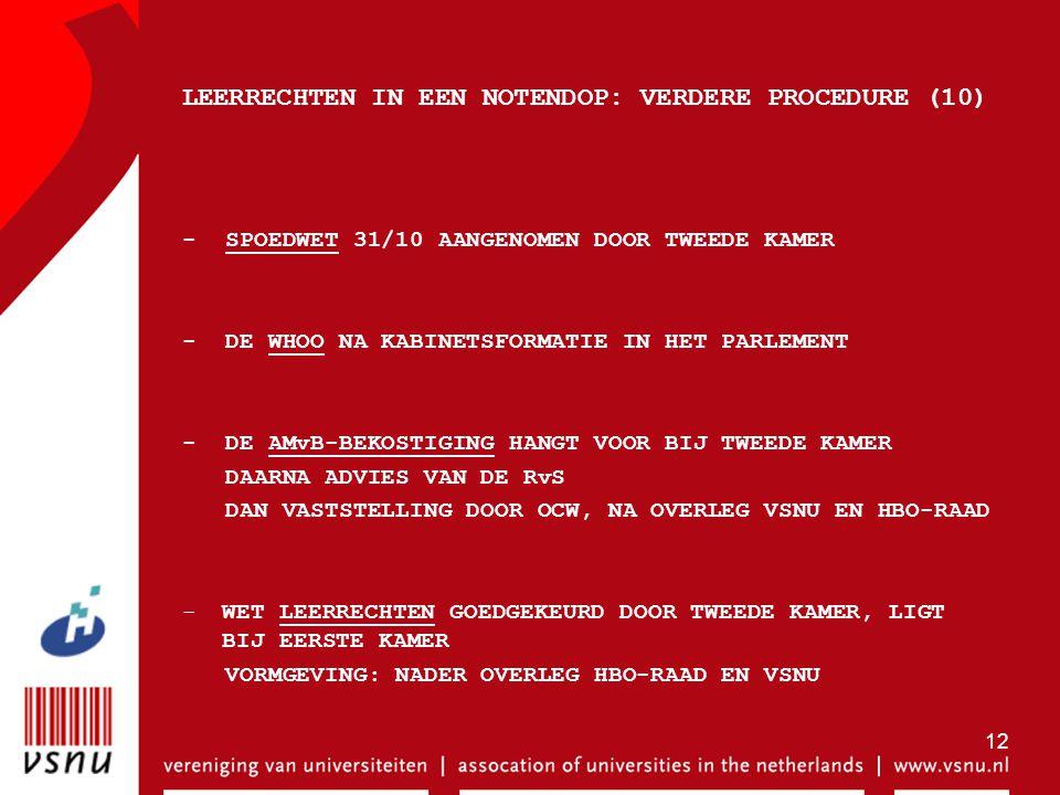 12 LEERRECHTEN IN EEN NOTENDOP: VERDERE PROCEDURE (10) - SPOEDWET 31/10 AANGENOMEN DOOR TWEEDE KAMER - DE WHOO NA KABINETSFORMATIE IN HET PARLEMENT -