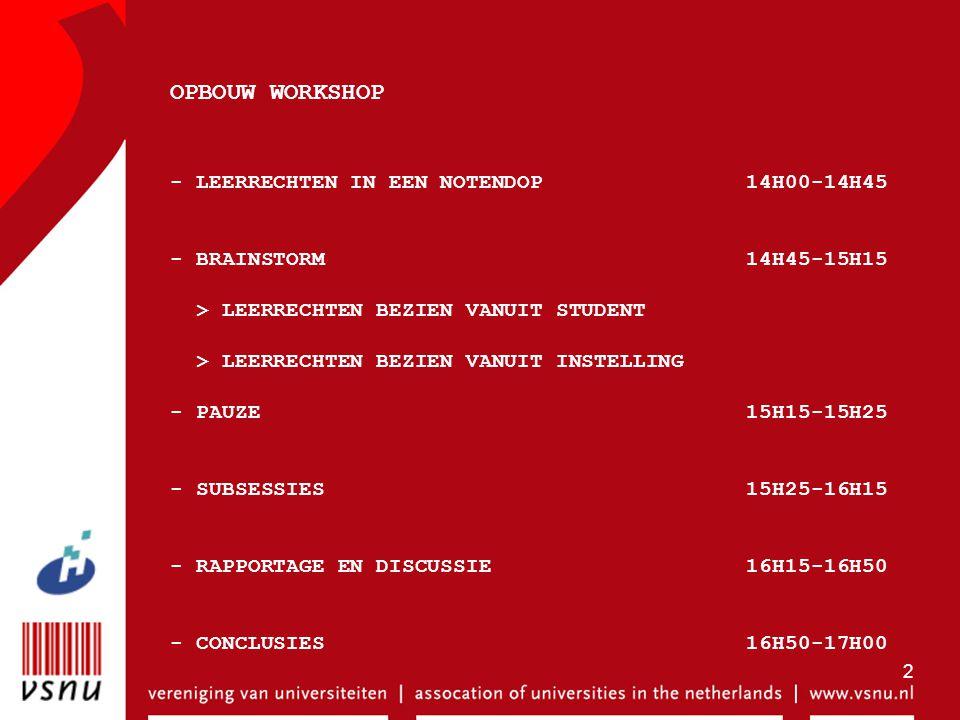 2 OPBOUW WORKSHOP - LEERRECHTEN IN EEN NOTENDOP 14H00-14H45 - BRAINSTORM 14H45-15H15 > LEERRECHTEN BEZIEN VANUIT STUDENT > LEERRECHTEN BEZIEN VANUIT I
