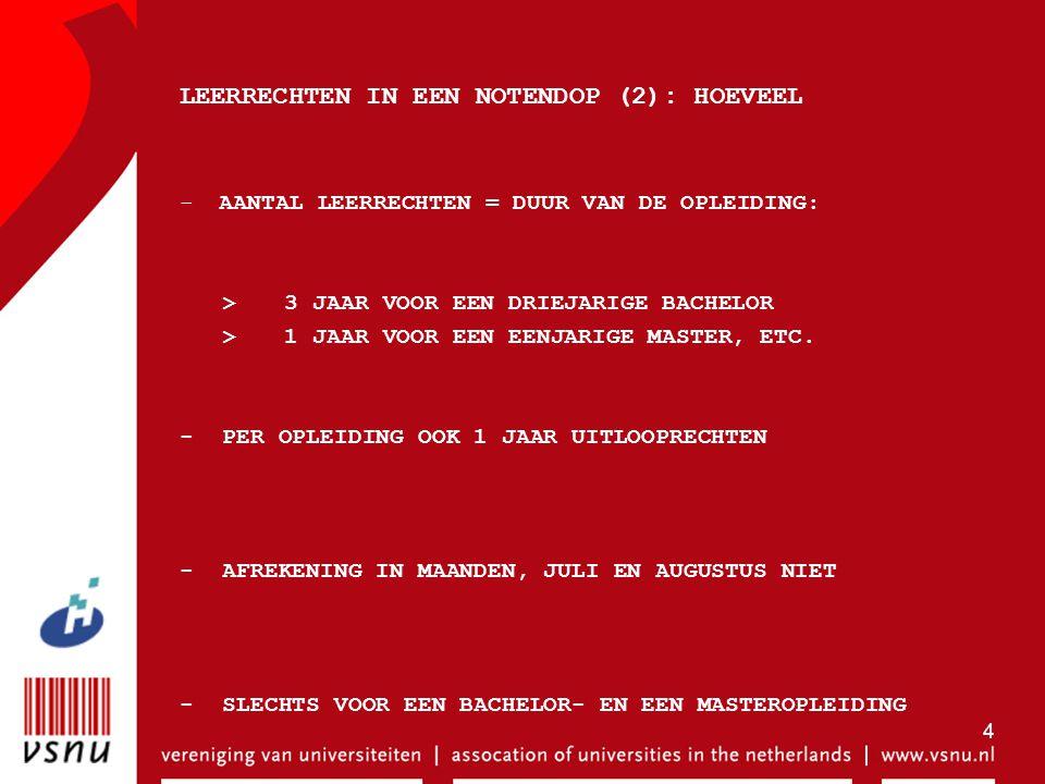 4 LEERRECHTEN IN EEN NOTENDOP (2): HOEVEEL -AANTAL LEERRECHTEN = DUUR VAN DE OPLEIDING: >3 JAAR VOOR EEN DRIEJARIGE BACHELOR >1 JAAR VOOR EEN EENJARIG