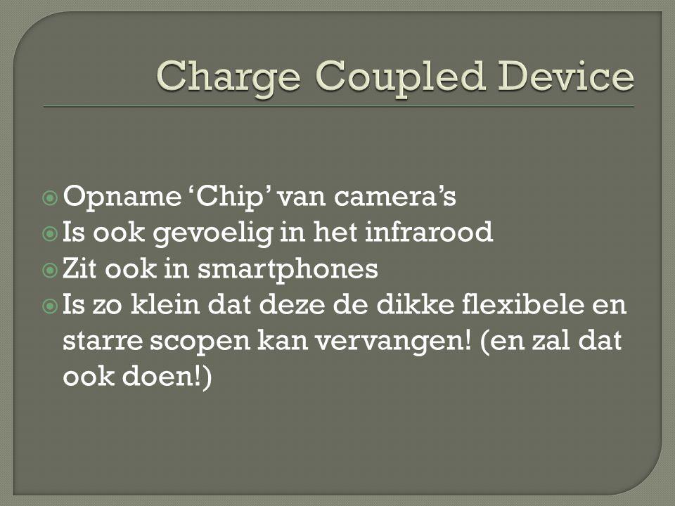  Opname 'Chip' van camera's  Is ook gevoelig in het infrarood  Zit ook in smartphones  Is zo klein dat deze de dikke flexibele en starre scopen kan vervangen.