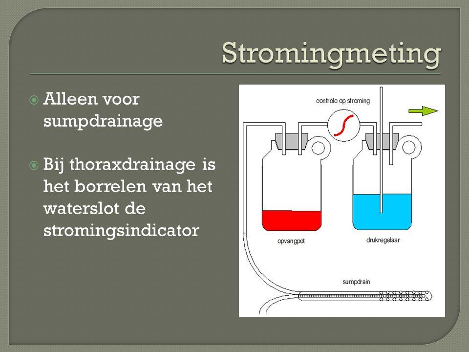  Alleen voor sumpdrainage  Bij thoraxdrainage is het borrelen van het waterslot de stromingsindicator