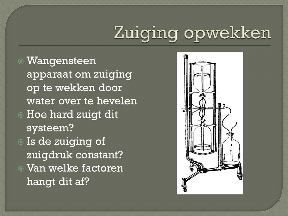  Wangensteen apparaat om zuiging op te wekken door water over te hevelen  Hoe hard zuigt dit systeem?  Is de zuiging of zuigdruk constant?  Van we