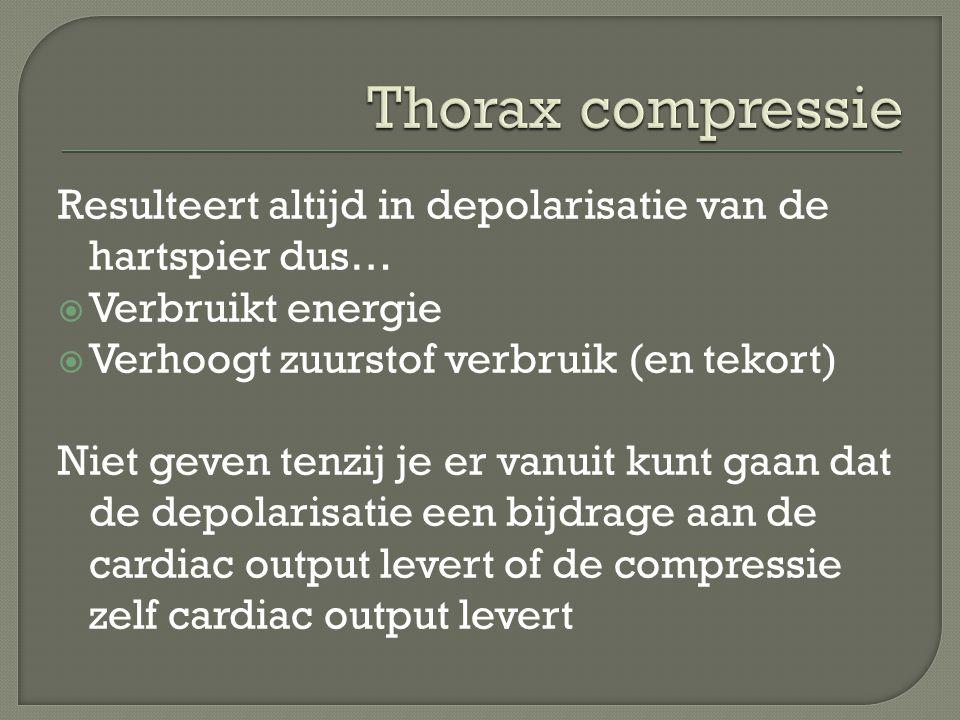 Resulteert altijd in depolarisatie van de hartspier dus…  Verbruikt energie  Verhoogt zuurstof verbruik (en tekort) Niet geven tenzij je er vanuit kunt gaan dat de depolarisatie een bijdrage aan de cardiac output levert of de compressie zelf cardiac output levert