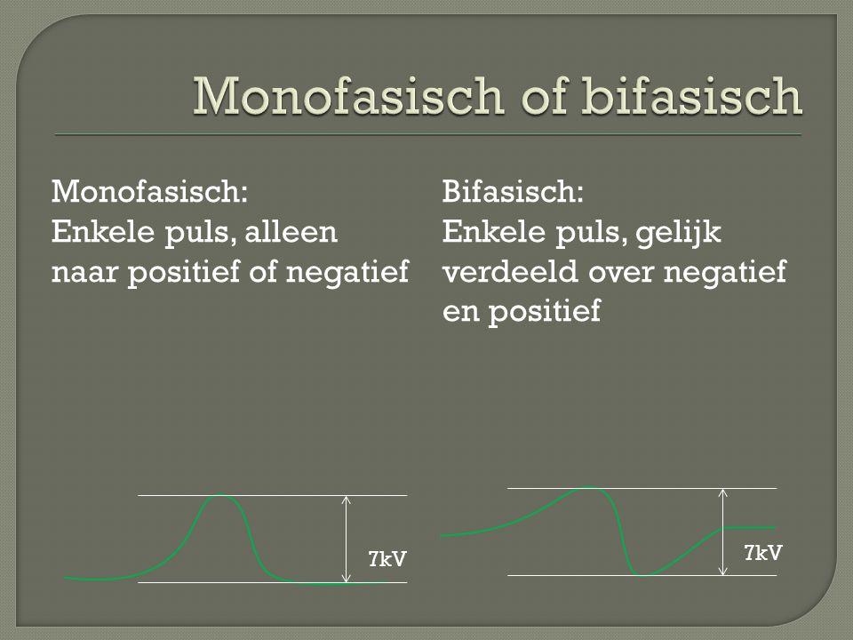 Monofasisch: Enkele puls, alleen naar positief of negatief Bifasisch: Enkele puls, gelijk verdeeld over negatief en positief 7kV